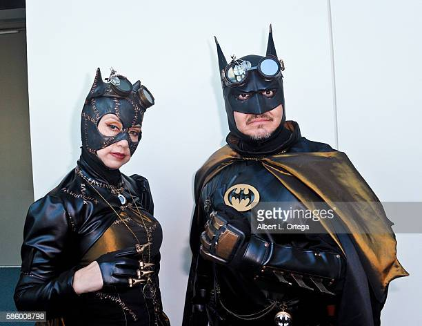 Cosplayers dressed as Steampunk Catwoman and Batman on day 3 attends ComicCon International 2016 at San Diego Convention Center on July 23 2016 in...