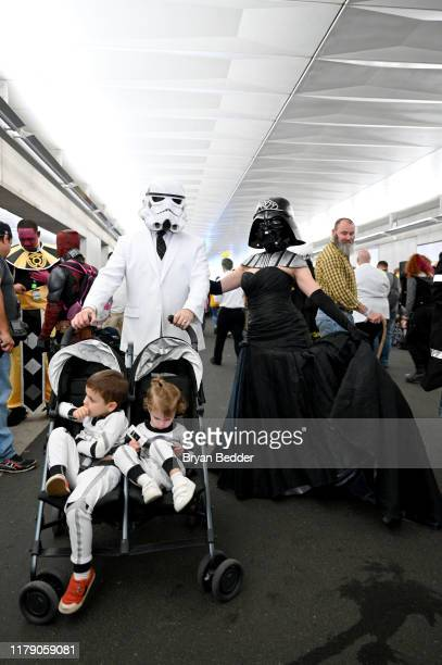 Cosplayers dressed as Stormtroopers and Darth Vader attend New York Comic Con 2019 Day 2 at Jacobs Javits Center on October 04 2019 in New York City