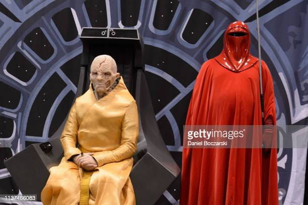 Cosplayers dressed as Supreme Leader Snoke and an Imperial Guard attend Star Wars Celebration at McCormick Place Convention Center on April 15, 2019...