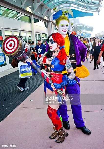 Cosplayers dressed as The Joker and Harley Quinn on day 3 attends ComicCon International 2016 at San Diego Convention Center on July 23 2016 in San...