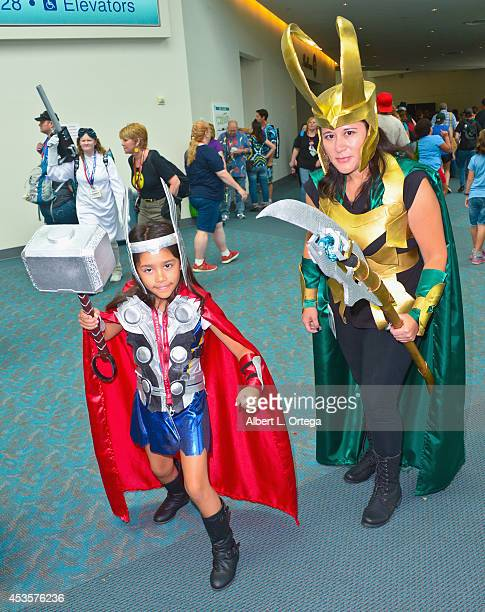 Cosplayers dressed as Thor and Loki from 'The Avengers' at the San Diego Convention Center on Day 2 of Comic-Con International 2014 on July 25, 2014...