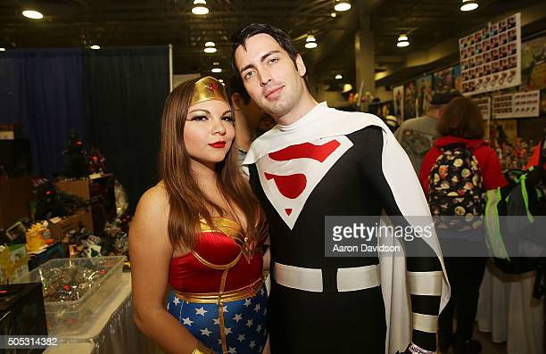 Cosplayers dressed as Wonder Woman and Super Man attends Magic City Comic Con on January 16 2016 in Miami Florida