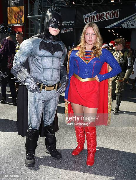 Cosplayers dressed Batman and Superwoman attend 2016 New York Comic Con Day 2 on October 7 2016 in New York City