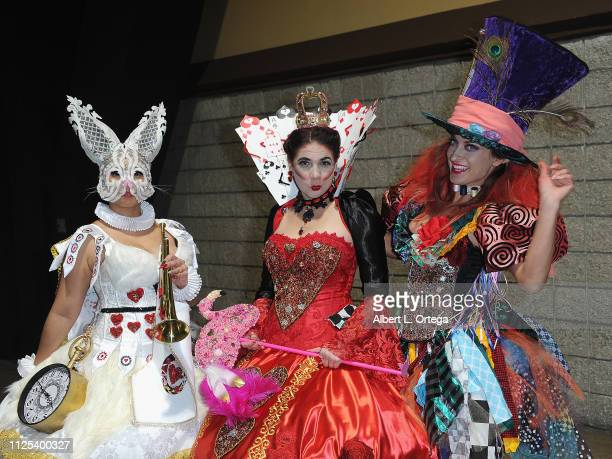Cosplayers dressed like characters from 'Alice In Wonderland' at the 2019 Long Beach Comic Expo held at Long Beach Convention Center on February 16...