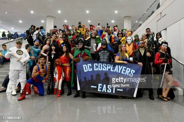 Cosplayers East pose during the New York Comic Con at Jacob K Javits Convention Center on October 03 2019 in New York City