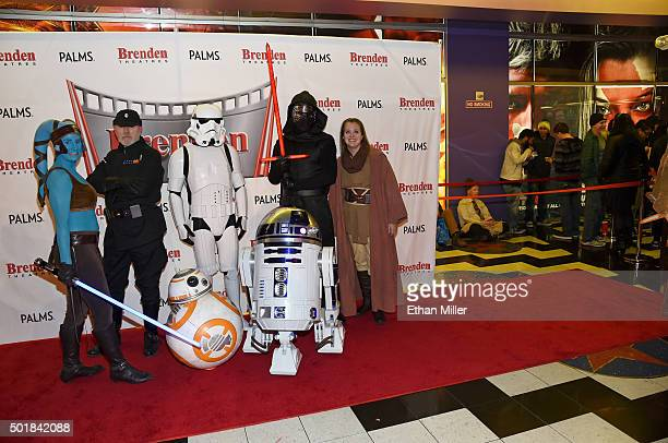 Cosplayers from The Twin Suns Star Wars Club Mary Nocie, Bruce MacRae, Mitchell Witherly, Dan Glitch and Tiffany Dykstra pose with BB-8 and R2-D2...