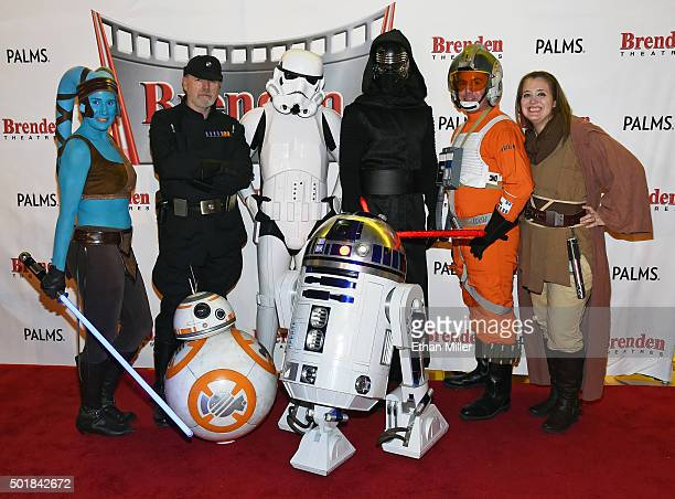 Cosplayers from The Twin Suns Star Wars Club Mary Nocie Bruce MacRae Mitchell Witherly Dan Glitch James Nocie and Tiffany Dykstra pose with BB8 and...