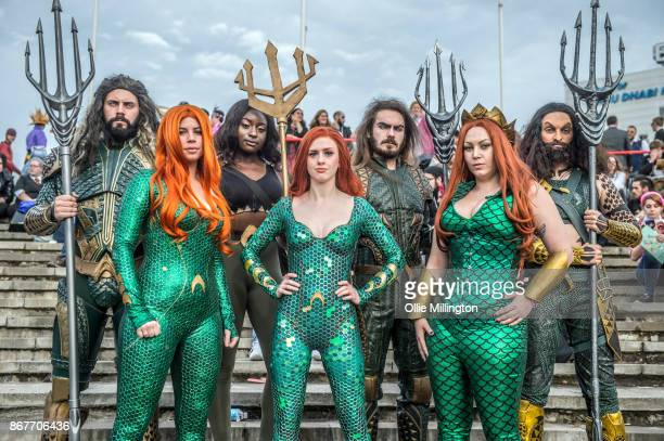 A Cosplayers in character as Aqua Men and Miras during MCM London Comic Con 2017 held at the ExCel on October 28 2017 in London England