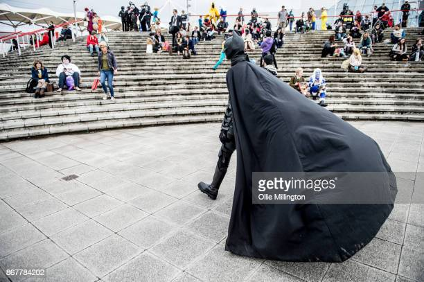 A Cosplayers in character as Batman during Day 3 of the MCM London Comic Con 2017 held at the ExCel on October 28 2017 in London England