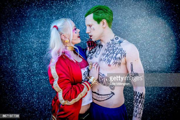 Cosplayers in character as Harley Quinn and The Joker from Suicide Squad during MCM London Comic Con 2017 held at the ExCel on October 27 2017 in...