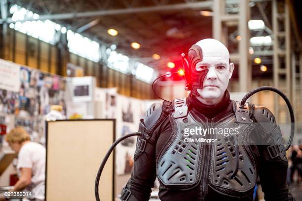 A cosplayers in character as member of The Borg the fictional alien race that appear as recurring antagonists in the Star Trek franchise at The...