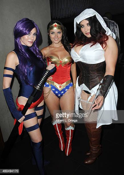 Cosplayers Jennifer Kareas Jennifer Winger and Ivy Doomkitty arrive for the Wikipad OnLive E3 Party held at Elevate Lounge on June 11 2014 in Los...