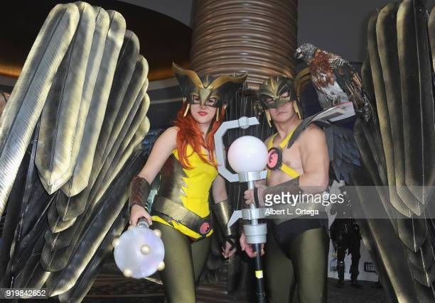 Cosplayers Julia Moreno Jenkins and Andy Holt as Hawkwoman and Hawkman attend day 1 of the 8th Annual Long Beach Comic Expo held at Long Beach...