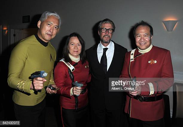 Cosplayers Mark Lum Michelle Wells actor Alan Ruck and David Cheng as Starfleet officers at the 42nd Annual Saturn Awards Reception held at The...