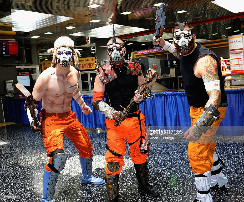 Cosplayers Mike Prost, Steve Smith and Luke Waynemeyer as Psycho Bandits attend Day 1 Wizard World Chicago Comic Con held at Donald E. Stephens Convention Center on August 9, 2013 in Rosemont, Illinois.