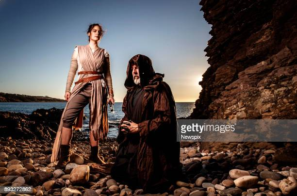 ADELAIDE SA Cosplayers Mikky Dyer dressed as Rey and Gerald Buttfield dressed as Luke Skywalker pose during a photo shoot at Hallet Cove in Adelaide...