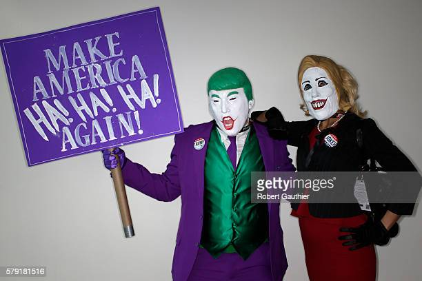 SAN DIEGO CA FRIDAY JULY 22 2016 Cosplayers Nick Mollburg as Joker Donald Trump and Auburn Rutledge as Hillary Quinnton at Comic Con 2016