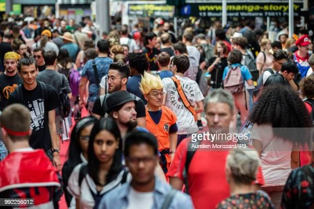 Cosplayers participate in the 2018 Japan Expo exhibition on July 5, 2018 in Paris, France. The 19th edition of Japan Expo, dedicated to manga,...