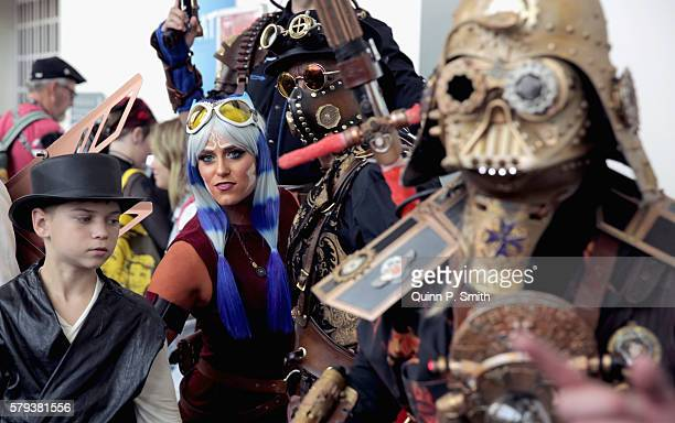 Cosplayers pose for a photo during ComicCon International 2016 on July 23 2016 in San Diego California