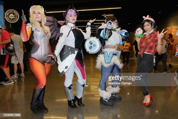 Cosplayers pose for a photo during Overwatch League Grand Finals Day 2 at Barclays Center on July 28 2018 in New York City