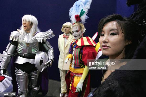 Cosplayers prepare backstage during the National Cosplay Championships as part of the Supanova Pop Culture Expo at the Dome at Olympic Park on June...