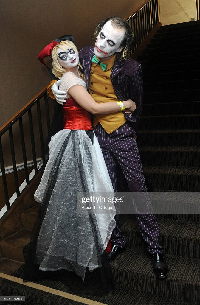 Cosplayers Zoe Oliva dressed as Harley Quinn marries Jesse Oliva dressed as The Joker at the Long Beach Comic Con held at Long Beach Convention Center on September 17, 2016 in Long Beach, California.