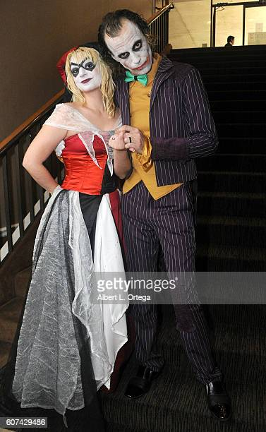 Cosplayers Zoe Oliva dressed as Harley Quinn marries Jesse Oliva dressed as The Joker at the Long Beach Comic Con held at Long Beach Convention...