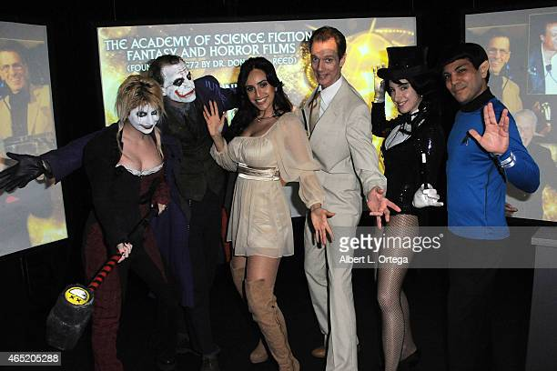 Cosplayers Zoey Garcia Jesse Oliva actress Valerie Perez actor Doug Jones Kelly Cercone and Richard Casillas at the 2015 Saturn Award Nominations for...