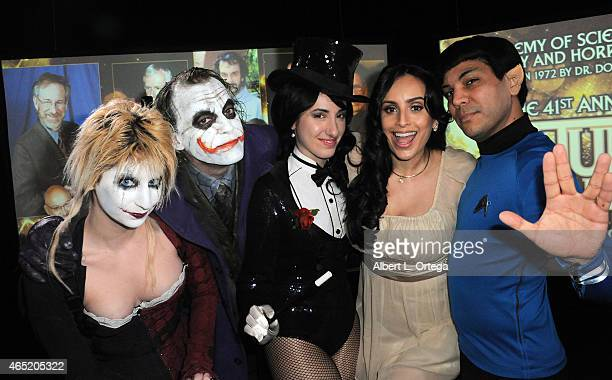 Cosplayers Zoey Garcia Jesse Oliva Kelly Cercone actress Valerie Perez and Richard Casillas at the 2015 Saturn Award Nominations for the 41st Annual...