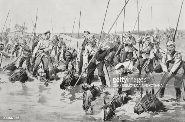 Cossack cavalry fording a river Russia World War I drawing by F de Haenen from L'Illustrazione Italiana Year XLI No 45 November 8 1914
