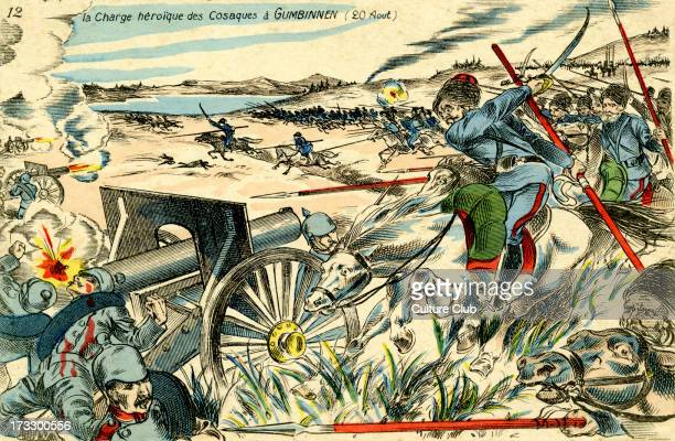 Cossack Charge at Gumbinnen 20 August 1914 Before Battle of Gumbinnen 22 August 1914 during World War 1 Cossack charge Eastern Front battle between...