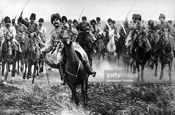 Cossack charging on horseback on the eastern front Russia 1915