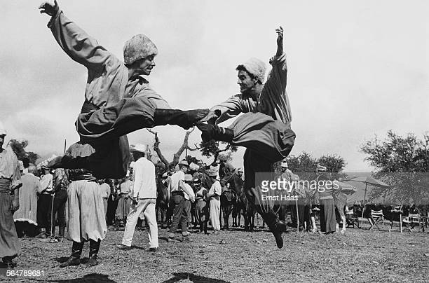 Cossack dancers on the set of the film 'Taras Bulba' 1962