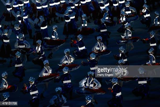 Cossack dancers perform during the finale of the Closing Ceremony of the 2014 Paralympic Winter Games at Fisht Olympic Stadium on March 16 2014 in...