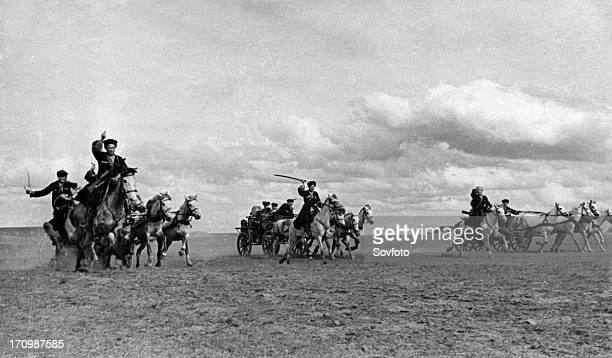Cossack machinegun carriages advancing to the firing lines during world war ll may 1942