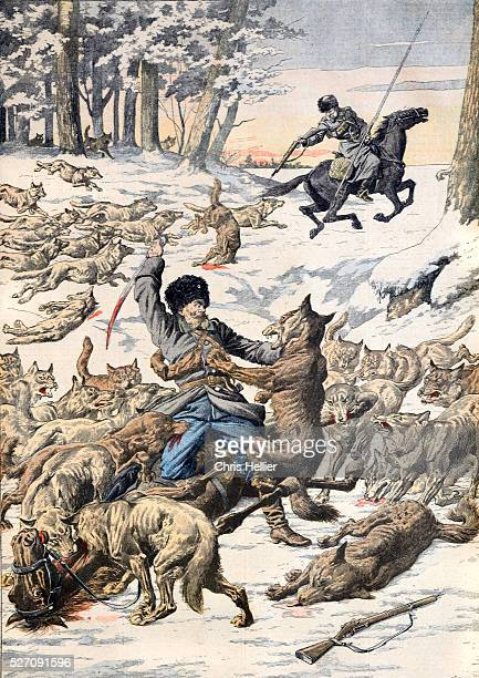 Cossacks Attacked by Pack of Wolves Manchuria Siberia