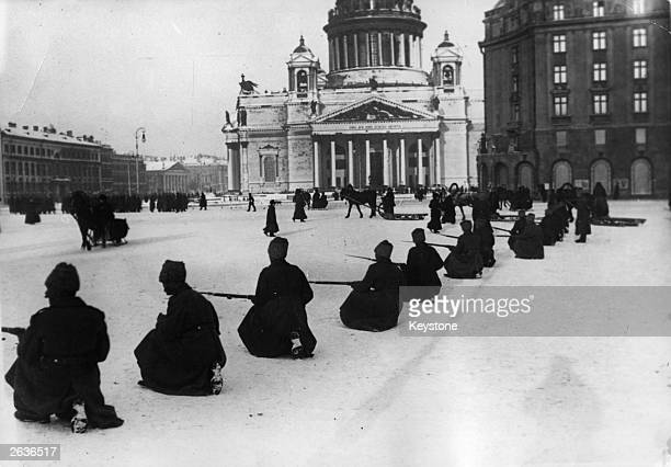 Cossacks in front of St Isaac's Cathedral in Petrograd in the early days of the October Revolution 1917