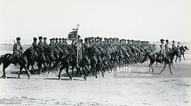Cossacks in the Russian army preparing to charge 1914 World War I Russia 20th century