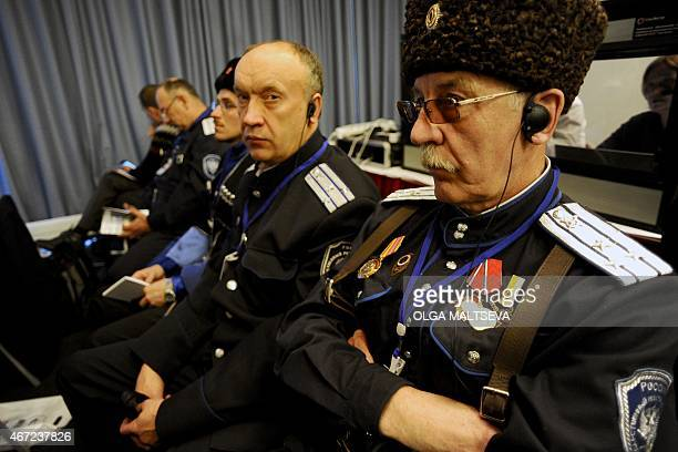 Cossacks take part in the International Russian Conservative Forum in SaintPetersburg on March 22 2015 Representatives of about a dozen farright...