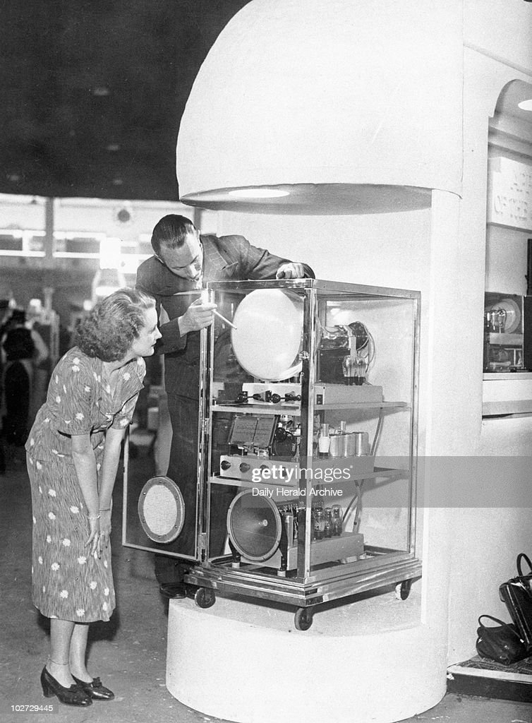 Cossor television set, 26 August 1936. Cossor television set, 26 August 1936. 'The Cossor television set on display at the National Radio Exhibition in Olympia, London'. Photograph by Bishop Marshall.