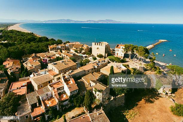 costa brava aerial view - girona stock photos and pictures