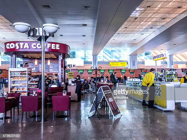 Costa coffee and other shops at Sheremetyevo Airport, Moscow