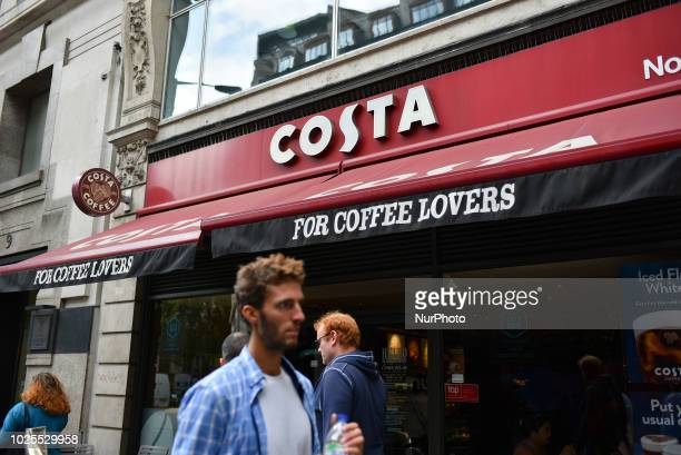 A Costa Coffee shop is pictured in central London on August 31 2018 CocaCola is to buy the Costa coffee chain from owner Whitbread in a deal worth...