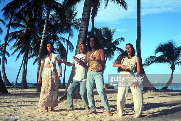 Costa Cordalis mit seinen Kindern EvaLucas und Angeliki CostaCordalis Saga 1997 Dominikanische Republik / Karibik