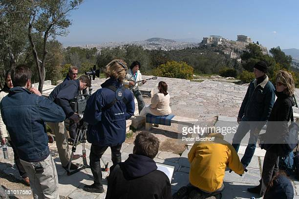"Costa Cordalis und Ehefrau Ingrid, Fernsehteam, Filopappou Hill , NDR-Special: ""Sirtaki, Stars, Olympiafieber - Athen erleben mit H E I K E G ; T Z"",..."