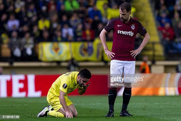 11 J Costa del Villarreal CF and 08 Marek Matejovsky of AC Sparta Prague during UEFA Europa League quarterfinals first leg match between Villarreal...