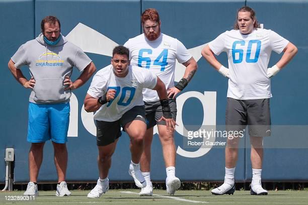 Costa Mesa, CA, Friday, May 14, 2021 - Rookies work out at LA Chargers mini-camp at Hoag Performance Center. Tackle Rashawn Slater guard Brenden...