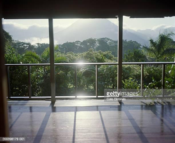 Costa Rica, Alajuela Province, hotel balcony, sunrise