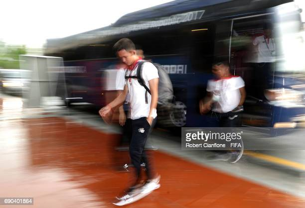 Costa Rica arrive for the FIFA U20 World Cup Korea Republic 2017 Round of 16 match between England and Costa Rica at Jeonju World Cup Stadium on May...