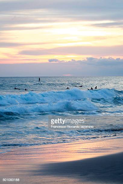 Costa Rica, beach and waves sunset